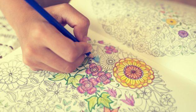 Раскраска с цветами.