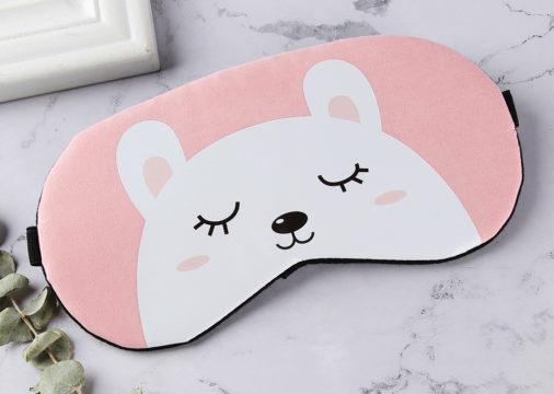 Маска для сна с белым медведем.